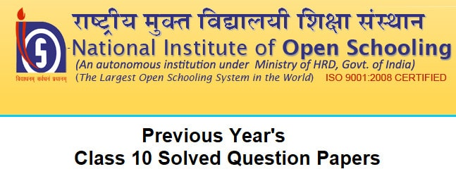 nios question paper for class 10 with answer
